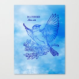 Bluebird Woodprint Canvas Print