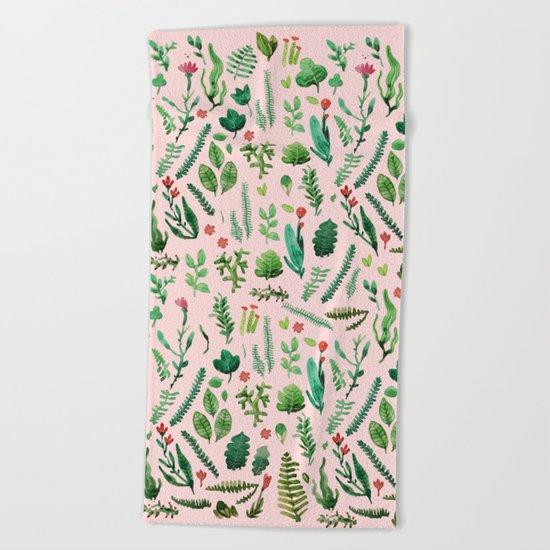 pink garden Beach Towel