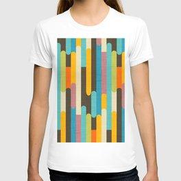 Retro Color Block Popsicle Sticks Blue T-shirt