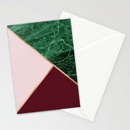 Green Marble with burgundy Stationery Cards