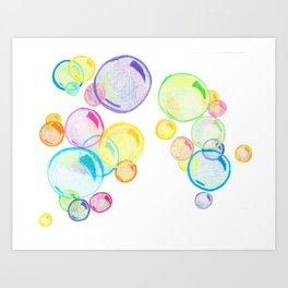 Rainbow Pastel Bubbles Floating Art Print
