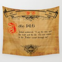 bible Wall Tapestries featuring Bible Verse John 14:6 by gcuda12