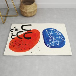 Mid Century Modern abstract Minimalist Fun Colorful Shapes Patterns Orange Blue Bubbles Organic Rug
