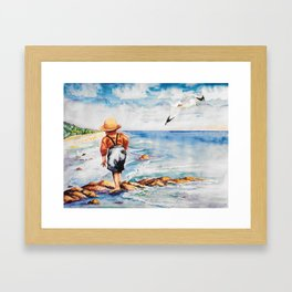 Watercolor Boy with Seagulls Framed Art Print