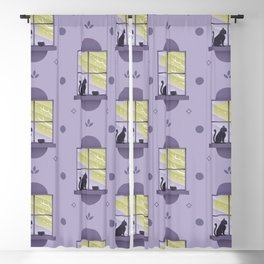 Happy At Home - Playful Cat Pattern V2 Blackout Curtain