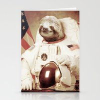 bitch Stationery Cards featuring Sloth Astronaut by Bakus