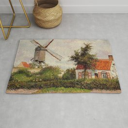 Windmill At Knokke Belgium 1894 By Camille Pissarro | Reproduction | Impressionism Painter Rug
