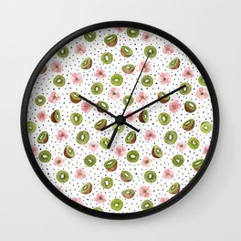 Kiwis with blush pink flowers and black dots watercolor Wall Clock