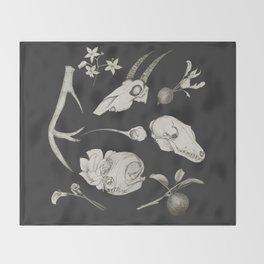Bones and Botanical Sketches Throw Blanket