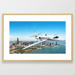 airplane over chicago skyline Framed Art Print