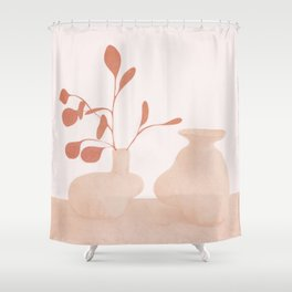 Minimal Branches and Vases Shower Curtain