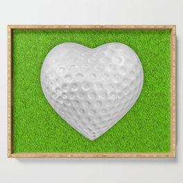Golf ball heart / 3D render of heart shaped golf ball Serving Tray