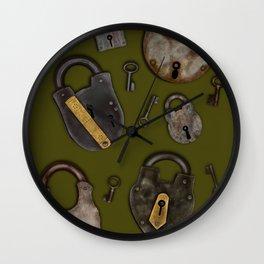 Padlocks & Keys on Olive Wall Clock