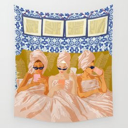 Ladies-Only Club #illustration #painting Wall Tapestry