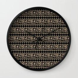 The lace pattern. Beige pattern on black background. Wall Clock