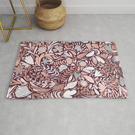 Rose Gold Burgundy Floral Illustration Pattern Rug