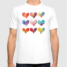 color of hearts White MEDIUM Mens Fitted Tee