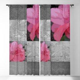 Gray Burlap and Damask with Pink Azaleas - Modern Farmhouse Blackout Curtain