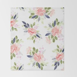 Peach & Nvy Watercolor Flowers Throw Blanket