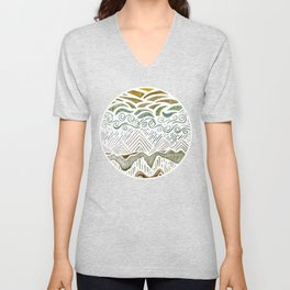 Abstract Green Landscape Watercolor Unisex V-Neck