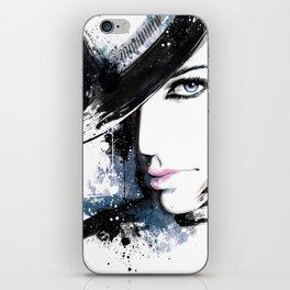 Fashion Beauty, Fashion Painting, Fashion IIlustration, Vogue Portrait, Black and White, #15 iPhone Skin