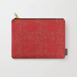 Bright ruby red fancy abstract love style pattern with fine golden hearts and bubbles Carry-All Pouch