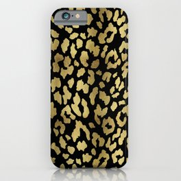 Cheetah Spots (Black And Gold) iPhone Case