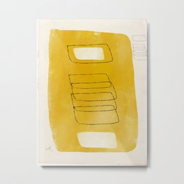 Golden Mono Form with Cream and Hollow Shapes Metal Print