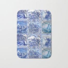 Portuguese Blue Tile art Bath Mat