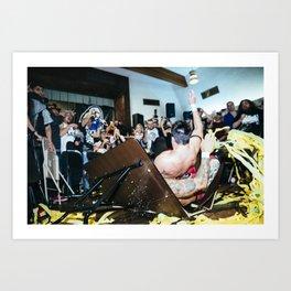 Chuck Taylor and Ricochet crash through a table Art Print