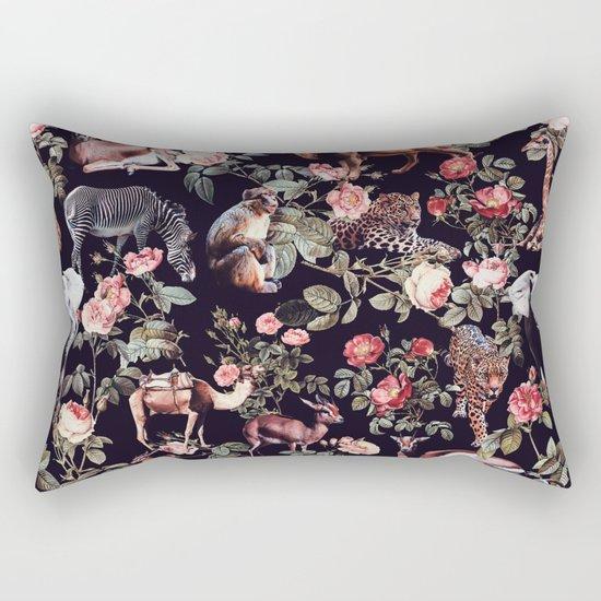 Animals and Floral Pattern Rectangular Pillow