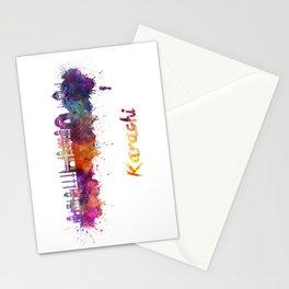 Karachi skyline in watercolor Stationery Cards