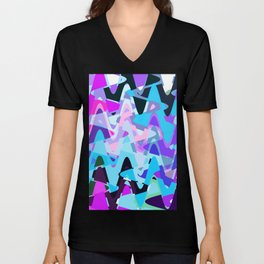 Electric waves, technological abstraction in rich colors, music waves in violet Unisex V-Neck