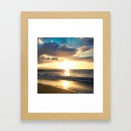 Poolenalena Beach Sunset Makena Maui Hawaii Framed Art Print