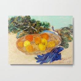 Vincent Van Gogh - Still Life of Oranges and Lemons with Blue Gloves Metal Print