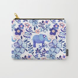 Pale Coral, White and Purple Elephant and Floral Watercolor Pattern Carry-All Pouch