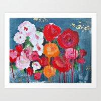 GILDED ROSES Art Print