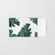 Banana Leaf Watercolor Pattern #society6 Hand & Bath Towel
