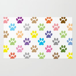 Colorful puppy paw prints pattern Rug