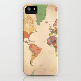 Mercator Map Modern iPhone Case