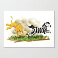 Lion & Zebra Canvas Print