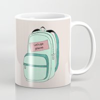 backpack Mugs featuring Backpack by Mrs. Ciccoricco