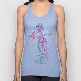 Tribal fusion dance color power. Abstract. Neon glowing  gesture sketch Unisex Tank Top
