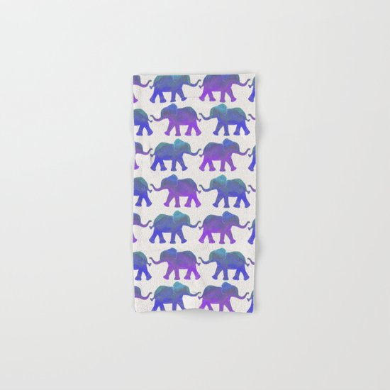 Follow The Leader - Painted Elephants in Royal Blue, Purple, & Mint Hand & Bath Towel