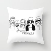 cactei Throw Pillows featuring Sticky Fingers  by ☿ cactei ☿