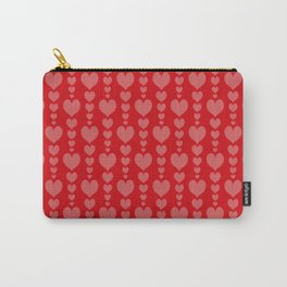 Red Background with Pink Hearts Valentines Day Love Carry-All Pouch