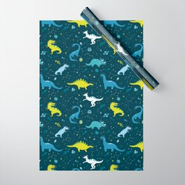 Space Dinosaurs in Bright Green and Blue Wrapping Paper