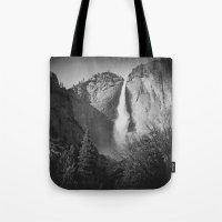 yosemite Tote Bags featuring Yosemite by Sarah Van Neyghem