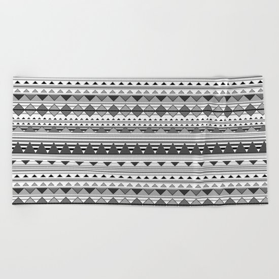 Aztec Black & White Beach Towel