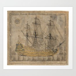 Ship by 'Abd al-Qadir Hisari, 1776 Art Print
